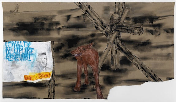 Leon Golub, <em>Bite Your Tongue</em>, 2001. Acrylic on linen, 87 x 153 inches. The Estate of Leon Golub, Courtesy Hauser and Wirth. © The Nancy Spero and Leon Golub Foundation for the Arts/Licensed by VAGA, New York, NY
