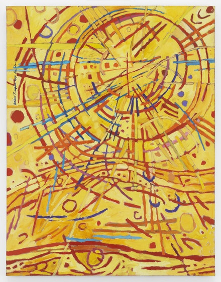 Mildred Thompson, Magnetic Fields, 1990. Oil on canvas, 62 x 48 inches. © The Mildred Thompson Estate Courtesy Galerie Lelong & Co., New York