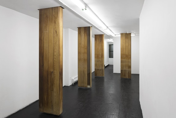 Carlos Reyes, <em>West Side Club</em>, 2018. Salvaged sauna cedar from West Side Club, glass, birch, hardware, four components, 95.5 x 21 x 6 inches each, total dimensions variable. Courtesy bodega