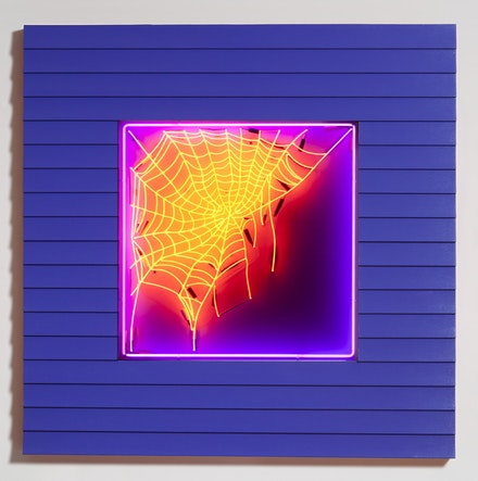 Alex Da Corte, <em>Slow Web</em>, 2018. Neon, vinyl siding, laminate, plywood, epoxy clay, house paint, hardware, 72 x 72 x 4 inches. Courtesy Karma.