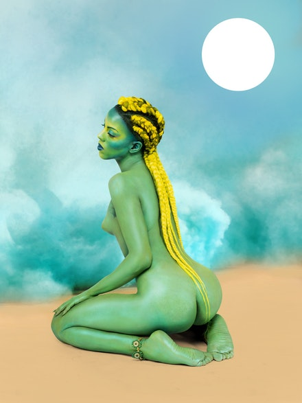 Juliana Huxtable, <em>Untitled in the Rage (Nibiru Cataclysm)</em>, 2015. Inkjet print. 40 x 30 inches. Solomon R. Guggenheim Museum, New York. Purchased with funds contributed by Stephen J. Javaras, 2015. Image courtesy Solomon R. Guggenheim Museum, New York. © Juliana Huxtable.