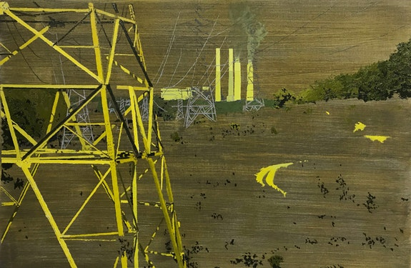 Greg Lindquist,<em> Belews Creak Steam Station, Stokes County, North Carolina (Transmission Towers)</em>, 2018. Oil, acrylic, and ash on linen, 30 x 46 inches. Courtesy the artist and Lennon, Weinberg, Inc., New York.