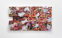 Kari Cholnoky, <em>Floaters/Flashes</em>, 2018. Faux fur, acrylic, collage, epoxy putty, plexiglass, urethane, 41 x 74 x 6 inches. Courtesy Safe Gallery.