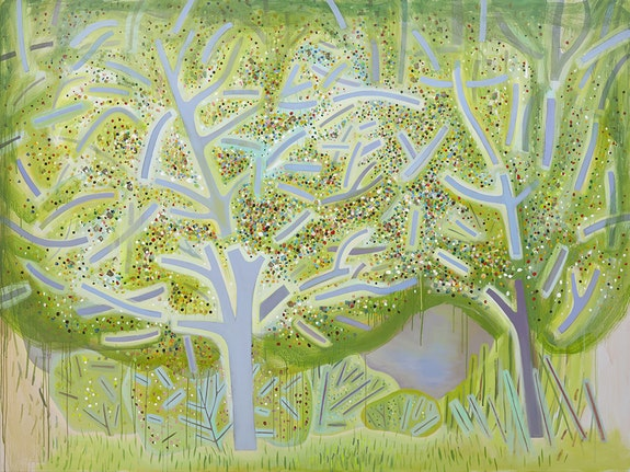 <p>Jennifer Coates<em>, Spring Trees</em>, 2018. Acrylic on canvas, 72 x 96 inches. Courtesy Freight + Volume Gallery.</p>