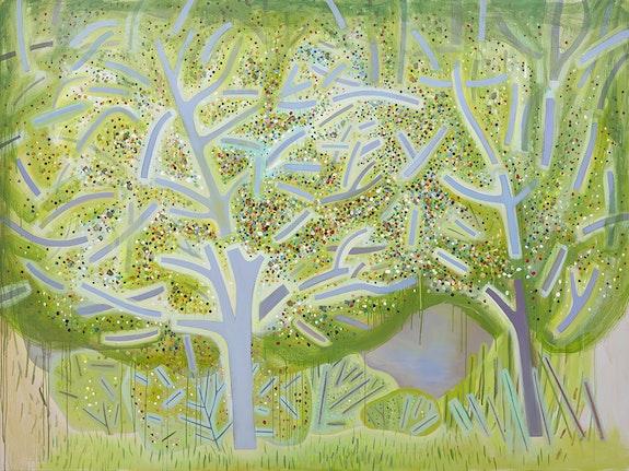 <p>Jennifer Coates<em>, Spring Trees</em>, 2018. Acrylic on canvas, 72 x 96 inches. Courtesy Freight + Volume Gallery.</p>