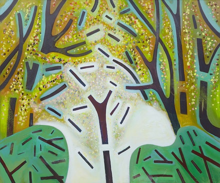 <p>Jennifer Coates<em>, Broken Woods</em>, 2018. Acrylic on canvas, 60 x 72 inches. Courtesy Freight + Volume Gallery.</p>