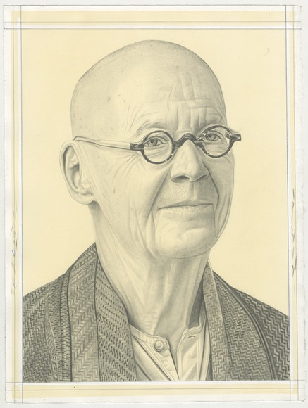 Portrait of Wolfgang Laib, pencil on paper by Phong Bui.