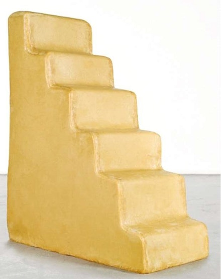 Wolfgang Laib, <em>Untitled</em>, 1996. Beeswax, wooden understructure, 56 1/2 x 44 x 21 1/2 inches. Courtesy the Artist and Sperone Westwater, New York.