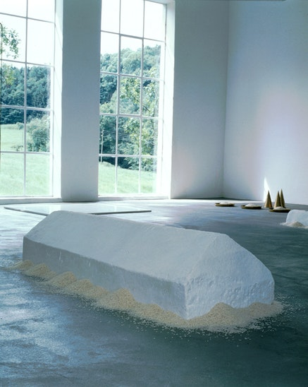 Wolfgang Laib, <em>Rice House</em>, 1995-96. Marble and rice, 18 7/8 x 12 1/2 x 58 7/8 inches. Courtesy the Artist and Sperone Westwater, New York.