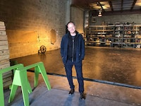 <p>Target Margin artistic director David Herskovits in the Doxsee, the company's new theater in Sunset Park, Brooklyn. Photo: Kelly Lamanna.</p>