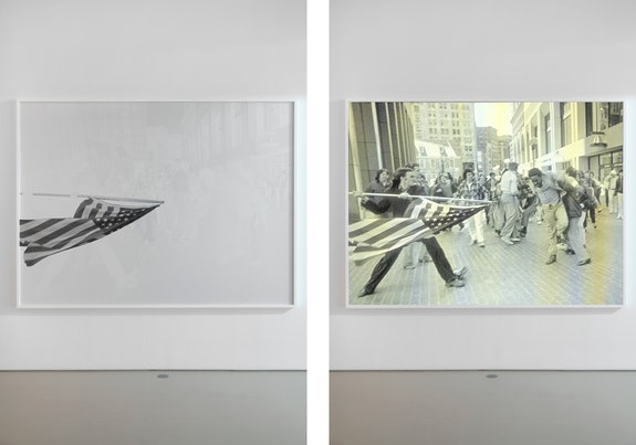 Hank Willis Thomas, <em>All Deliberate Speed</em>, 2018. Screenprint on retroreflective vinyl mounted on Dibond, 72 3/4 x 97 5/8 x 2 inches. Left: no flash; right: flash. © Hank Willis Thomas. Courtesy the artist and Jack Shainman Gallery, New York.