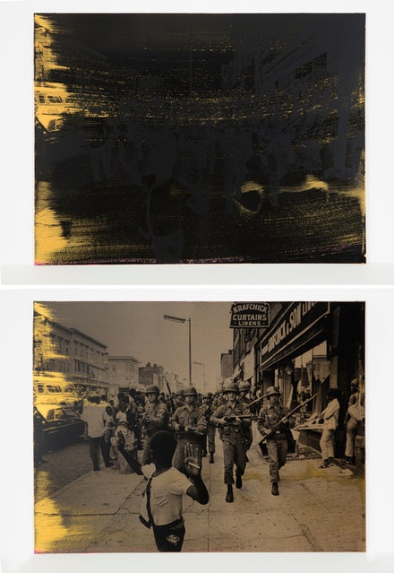 Hank Willis Thomas, <em>Public Enemy (Black and Gold I)</em>, 2017. Screenprint on retroreflective vinyl mounted on Dibond, 24 x 32 inches. Top: no flash; bottom: flash. © Hank Willis Thomas. Courtesy the artist and Jack Shainman Gallery, New York.