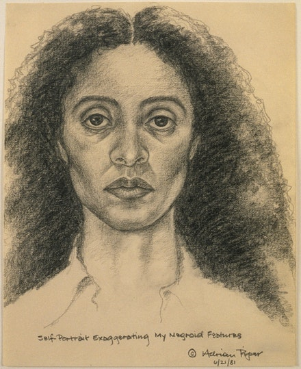 Adrian Piper, <em>Self-Portrait Exaggerating My Negroid Features</em>, 1981. Pencil on paper, 10 x 8 inches. © Adrian Piper Research Archive Foundation Berlin.