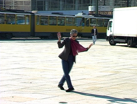 Adrian Piper, <em>Adrian Moves to Berlin</em> (still), 2007. Video (color, sound), 01:02:42. Video: Robert Del Principe. © Adrian Piper Research Archive Foundation Berlin.
