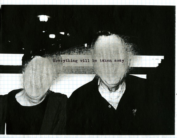 Adrian Piper, <em>Everything #2.8</em>, 2003. Photocopied photograph on graph paper, sanded with sandpaper, overprinted with inkjet text, 8.5 x 11 inches. &copy; Adrian Piper Research Archive Foundation Berlin.