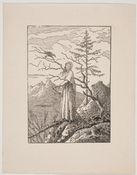 Caspar David Friedrich, <em>Woman with Raven at the Edge of the Abyss</em>, c. 1803, woodblock print on paper, Carnegie Museum of Art, Gift of Mary Louise and Henry J. Gailliot in honor of Louise Lippincott and Linda Batis.