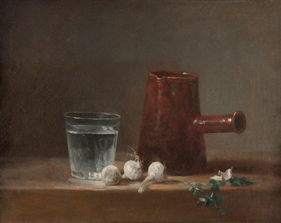Jean Siméon Chardin, <em>Glass of Water and Coffeepot</em>, c. 1761. Oil on canvas, Carnegie Museum of Art, Howard A. Noble Fund.
