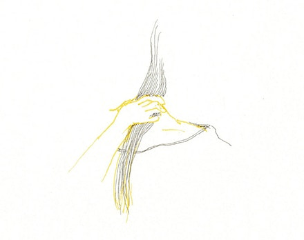 <em>my yellow skin, my yellow hair</em>, pen on paper, 2018.