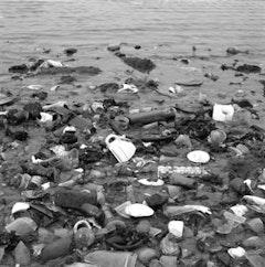 Glass and bottles along shoreline. © 2007 Susan Walsh.