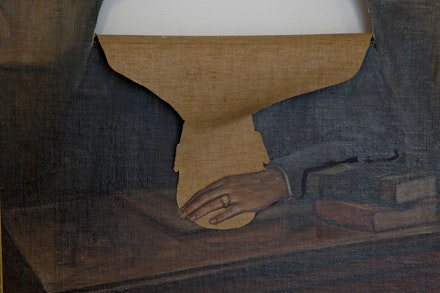 Unknown artist and Mel Chin, <em>Unauthorized Collaboration</em> (detail), 2012. Oil on canvas, various support materials, PVA wood, pigment. Courtesy the Queens Museum. Photo: Hai Zhang.