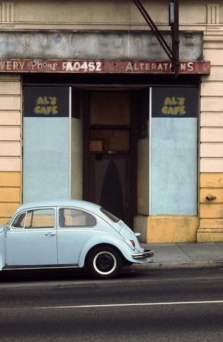 <p>Street view of Allen Ruppersberg's site-specific project<em>Al's Café</em>, 1969. Courtesy the artist. Photo: Gary Krueger.</p>