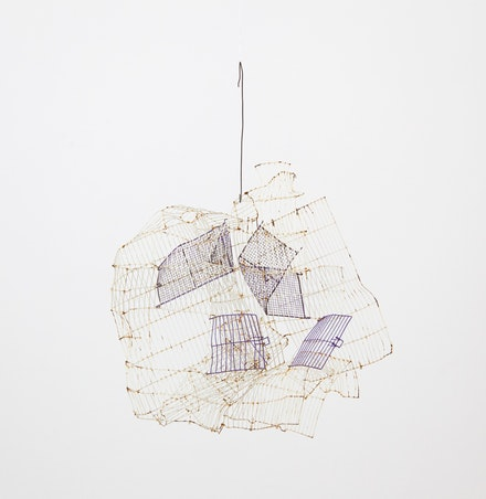 Gedi Sibony, <em>The Shivered</em>, 2015. Birdcage, wire, 34 x 26 x 12 inches. Courtesy the artist and Greene Naftali, New York.