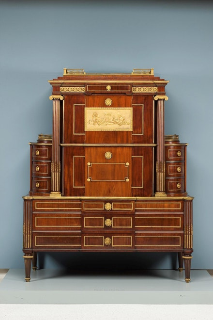 David Roentgen, <em>Medals cabinet</em>, c. 1785. Oak and mahogany with mahogany veneer, gilded bronze, and brass. Carnegie Museum of Art, purchased with funds provided by the Sarah Mellon Scaife Foundation.