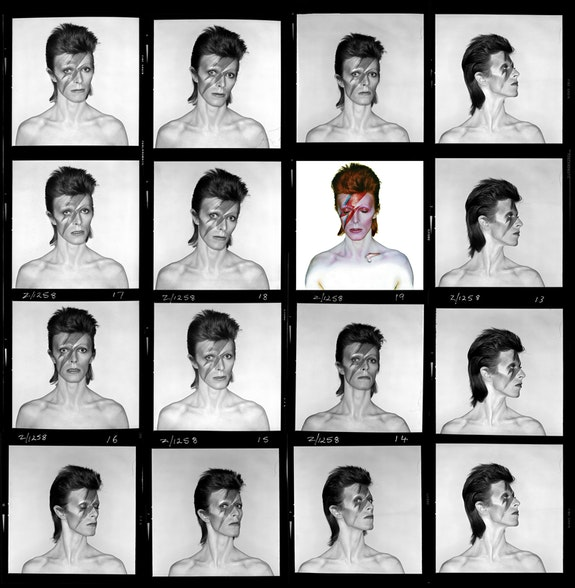 Brian Duffy, Aladdin Sane contact sheet, 1973. © Duffy Archive & The David Bowie Archive