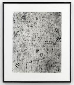 <p>Erica Baum, Untitled (Nietzche is Peachy), 1994. Gelatin silver print, 21 1/8 &times; 16 3/4 inches. Courtesy Bureau, New York. Photo: Dario Lasagni.</p>