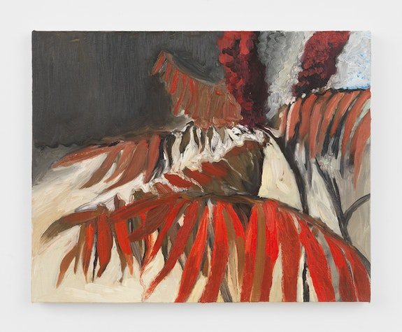 Jane Corrigan, <em>Sumac</em>, 2018. Oil on canvas, 16.25 x 20 inches. Courtesy Marinaro.