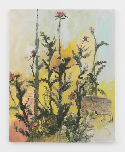 Jane Corrigan, <em>Milk Thistle</em>, 2018. Oil on canvas, 45 x 36.25 inches. Courtesy Marinaro.