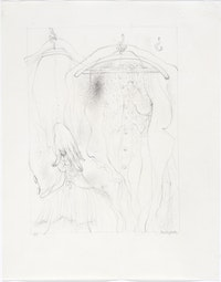 1. Hans Bellmer, <em>Plus Lourde (pour Á Sade)</em>, 1961. Pencil on paper, 10 5/8 x 8 3/8 inches. Courtesy Ubu Gallery.