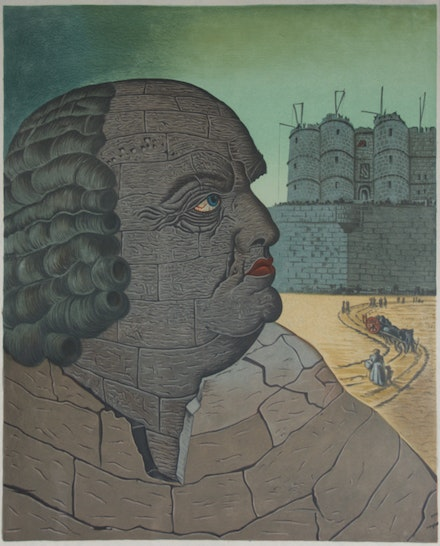 Man Ray, <em>Portrait imaginaire de D.A.F. de Sade</em>, 1970. Lithograph on paper, 28 7/8 x 20 1/2 inches.