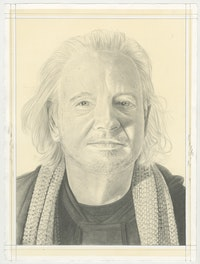 Portrait of Allen Ruppersberg, pencil on paper by Phong Bui.
