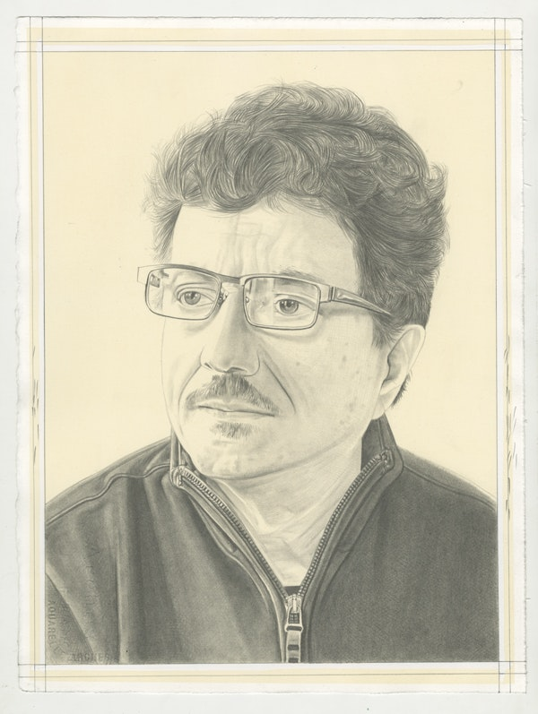 Portrait of Octavio Zaya, pencil on paper by Phong Bui.