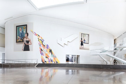 <p>Anna K.E., <em>Profound Approach and Easy Outcome, </em>2017. (installation view). 140 ft. x 27 ft. Courtesy the artist. Photo by Hai Zhang.</p>