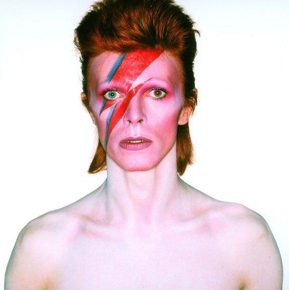 Photograph from the album cover shoot for Aladdin Sane, 1973. Photo Duffy © Duffy Archive & The David Bowie Archive