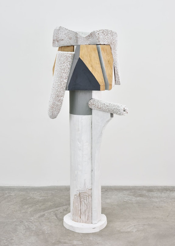 Arlene Shechet, <em>Like Kali</em>, 2018. Glazed ceramic, wood, paint, 53 x 28 x 19 inches. © Arlene Shechet. Photo: Rebecca Fanuele. Courtesy the artist and Almine Rech Gallery.