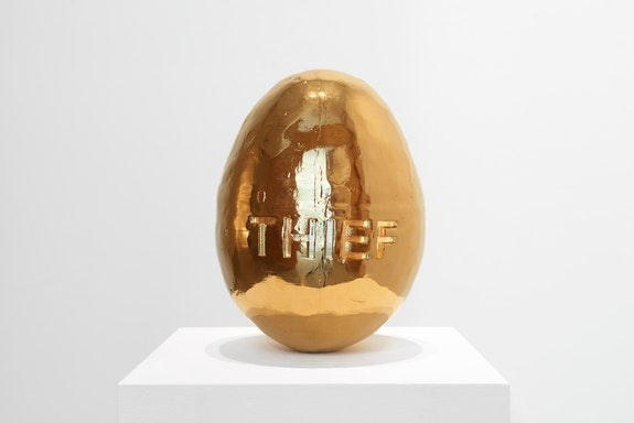 Sean Shim-Boyle, <em>Golden Egg</em>, 2018. Gold-plated resin 3D print, 12 x 9 x 9 inches, handmade edition of 5 + 1 AP. Courtesy Jane Lombard Gallery.