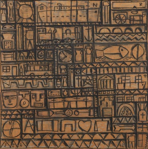Joaquín Torres-García, <em>Arte constructive universal [Universal Constructive Art]</em>, 1942. Tempera on wood, 60 9/16 x 60 1/2 inches © Alejandra, Aurelio and Claudio Torres, Sucesion J.Torres-García, Montevideo 2017.
