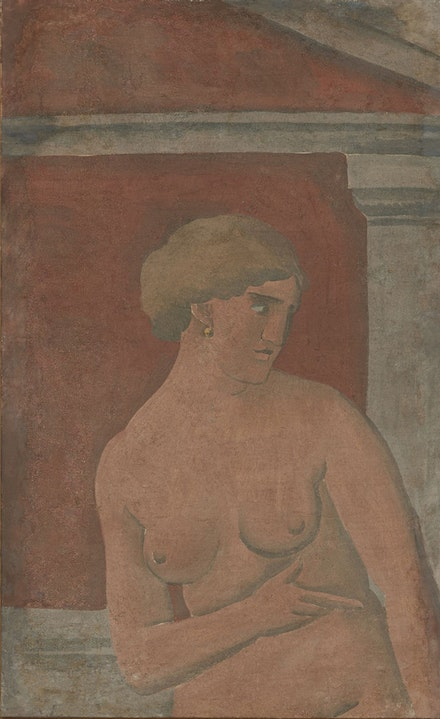 Joaquín Torres-García, <em>Desnudo de mujer con frontón [Nude Woman with Pediment]</em>, 1926. Tempera on canvas, 47 x 29 inches. © Alejandra, Aurelio and Claudio Torres, Sucesion J.Torres-García, Montevideo 2017.