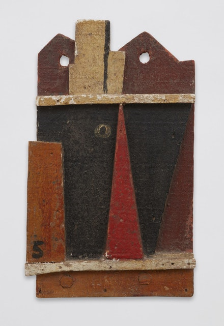 Joaquín Torres-García, <em>Objet plastique (Barco abstracto) [Plastic Object (Abstract Ship)]</em>, 1928. Oil on wood, 15 5/8 x 9 1/2 x 1 1/2 inches. © Alejandra, Aurelio and Claudio Torres, Sucesion J.Torres-García, Montevideo 2017.
