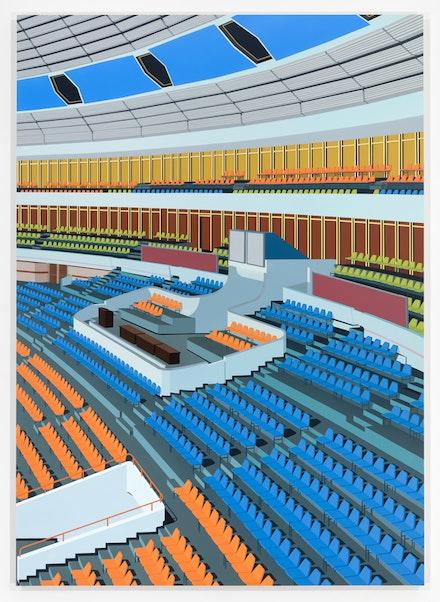 Daniel Rich, <em>Stadium, Pyongyang</em>, 2018. Acrylic on Dibond, 84 x 60 inches. Courtesy the artist and Peter Blum Gallery, New York. Photo: Etienne Frossard