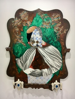 David Shrobe, <em>Anointed</em>, 2018. Oil, Graphite, Wood, Metal, Fabric, Paper and Mixed Media, 60 x 47.5 x 4 inches. Courtesy Faction Projects