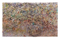 Larry Poons, <em>Grin (Fransisco)</em>, 1991. Acrylic and inert materials on canvas, 219.7 x 357.5 cm. Courtesy Roberto Polo Gallery.