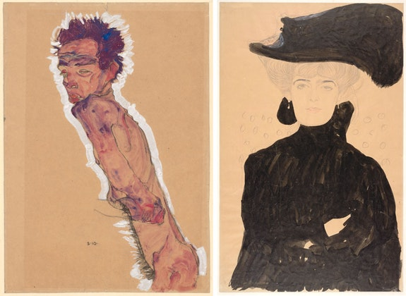 Left: Egon Schiele, <em>Nude Self-Portrait</em>, 1910. Watercolor and black chalk on wrapping paper. Albertina, Vienna. Right: Gustav Klimt, <em>Lady with Plumed Hat</em>, 1908. Ink, graphite, colored pencil, and watercolor on Asian paper. Albertina, Vienna. Courtesy the Museum of Fine Arts, Boston