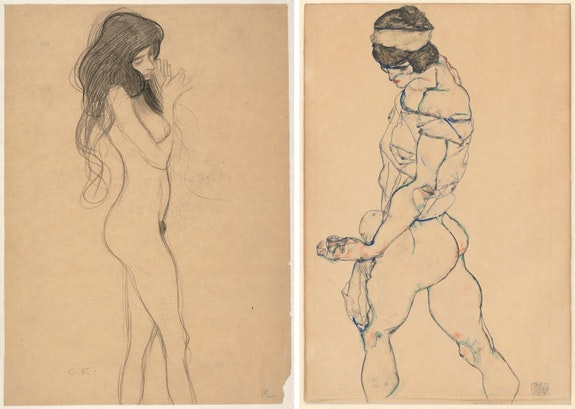 "Left: Gustav Klimt, <em>Standing Female Nude (Study for the Beethoven Frieze: ""The Three Gorgons"")</em>, 1901. Black chalk on wrapping paper. Albertina, Vienna. Right: Egon Schiele, <em>The Pacer</em>, 1914. Watercolor and graphite on Asian paper. Albertina, Vienna. Courtesy the Museum of Fine Arts, Boston."