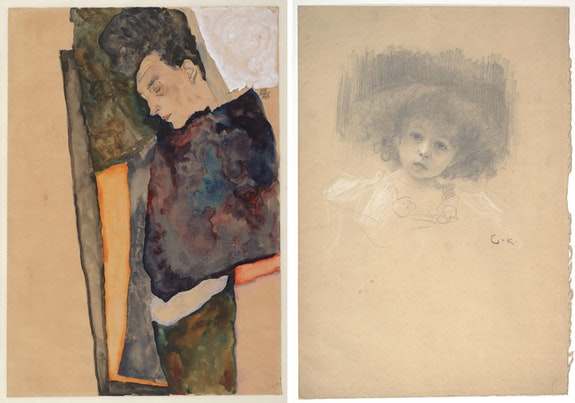 "Left: Egon Schiele, The Artist's Mother, Sleeping, 1911. Watercolor and graphite on wrapping paper. Albertina, Vienna. Right: Gustav Klimt, <em>Portrait of a Child (Study for ""Love"")</em>, 1895. Graphite and white chalk on wrapping paper. Albertina, Vienna. Courtesy the Museum of Fine Arts, Boston."