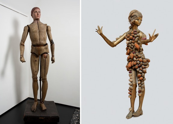 Left: Bertel Thorvaldsen, <em>Lay Figure</em>, before 1806. Wood, metal, and paint,  63 3/4 x 23 7/16 x 22 7/16 inches. Thorvaldsens Museum, Copenhagen. Right: Yayoi Kusama, <em>Phallic Girl</em>, 1967. Mannequin with mixed media, 61 x 34 1/4 x 16 15/16 inches. Collection of Caroline de Westenholz. &copy; Yayoi Kusama. Photo: &copy; Tate, London 2017