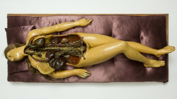 Fontana Workshop, (Florentine), <em>Anatomical Venus</em>, 1780&ndash;85. Wood skeleton, transparent wax, pigmented wax, hair, and satin cushion. Semmelweis Museum of the History of Medicine / Hungarian National Museum, Budapest